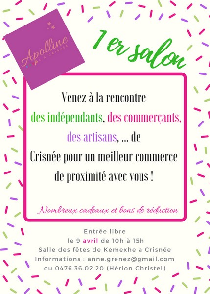Affiche Salon Apolline 9 04 2017