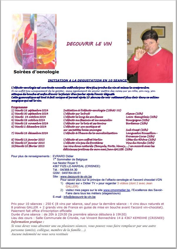 Cycle Doenologie A Partir Du Mardi 16 Septembre 2014 1 Sur 2 Au Prix De 250 EUR Pour Les 10 Seances